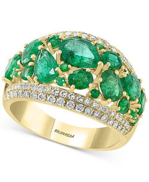 EFFY Collection EFFY® Emerald (3-1/10 ct. t.w.) & Diamond (3/8 ct. t.w.) Statement Ring in 14k Gold