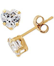 Swarovski Zirconia Heart Stud Earrings in 14k Gold