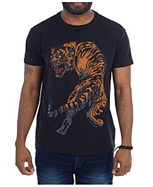 3D Graphic Tiger Studded T-Shirt