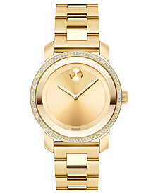 Movado Women's Swiss Bold Diamond (2/5 ct. t.w.) Gold Ion-Plated Stainless Steel Bracelet Watch 36mm 3600150