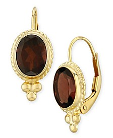Gemstone Twist Gallery Drop Earring in 14k Yellow Gold Available in Amethyst, Blue Topaz, Citrine, Garnet  or Peridot