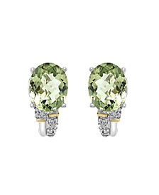 EFFY® Green Amethyst (4-1/2 ct. t.w) Diamond Accent Earrings in 18K Yellow Gold and Sterling Silver