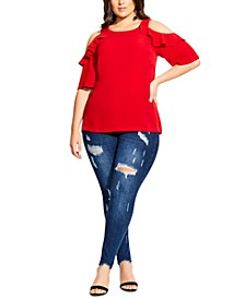 Trendy Plus Size Cold-Shoulder Top