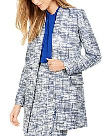 Tweed Collarless Topper Jacket