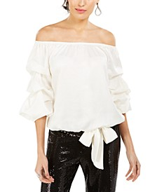 Off-The-Shoulder Bow-Hem Top