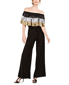 Off-The-Shoulder Pleated Metallic Popover Jumpsuit