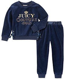 Little Girls 2-Pc. Velour Sweatshirt & Jogger Pants Set