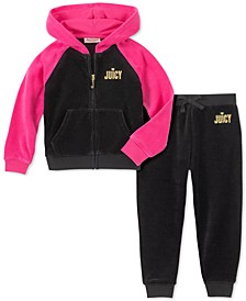 Little Girls 2-Pc. Colorblocked Velour Hoodie & Jogger Pants Set