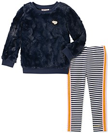 Little Girls 2-Pc. Faux-Fur Sweatshirt & Striped Leggings Set