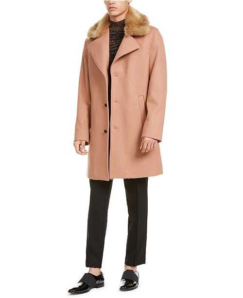 INC International Concepts INC Men's Scott Topcoat with Faux Fur Collar, Created For Macy's