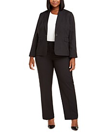 Plus Size Pinstriped Single-Button Suit