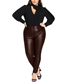 Trendy Plus Size Wet-Look Jeans