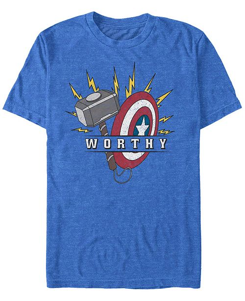 Marvel Men's Avengers Endgame Worthy Hammer and Shield, Short Sleeve T-shirt