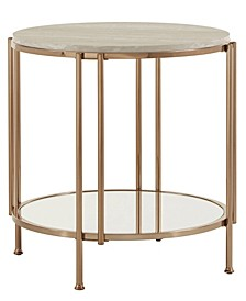 Celsus End Table with Faux Marble Top and Mirrored Bottom