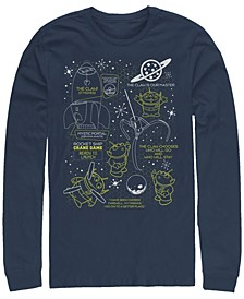 Pixar Men's Toy Story Aliens Claw Master Map, Long Sleeve T-Shirt