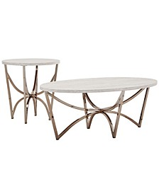 Victoria 2-Piece Occasional Table Set with Faux Marble Top
