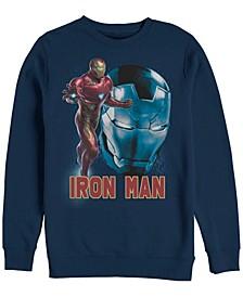 Men's Avengers Endgame Iron Man Big Face Action Pose, Crewneck Fleece