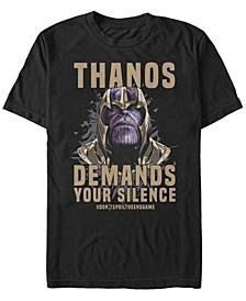 Men's Avengers Endgame Thanos Demands Silence, Short Sleeve T-shirt