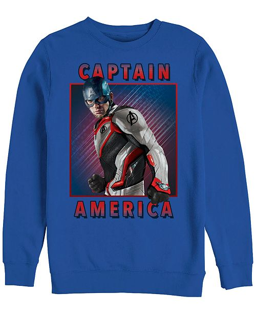 Marvel Men's Avengers Endgame Captain America Portrait, Crewneck Fleece