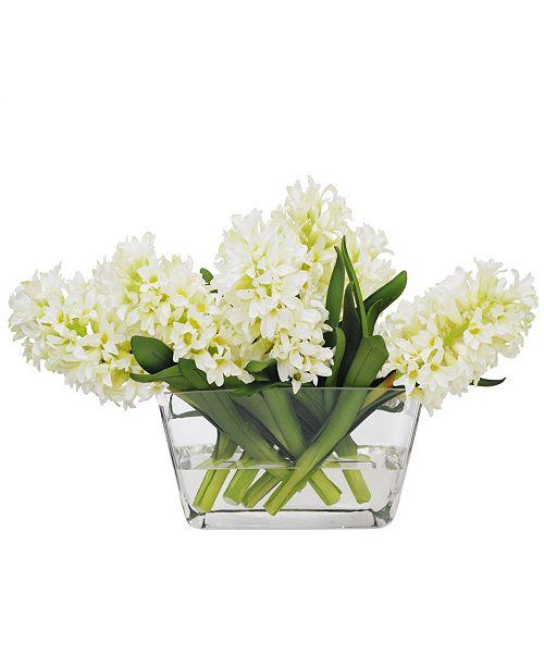 Winward Silks Permanent Botanicals Hyacinth in Glass Vase