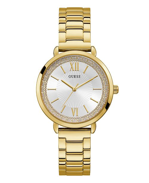 GUESS Women's Gold-Tone Stainless Steel Watch, 38mm