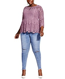 Trendy Plus Size Everything Lace Peplum Top