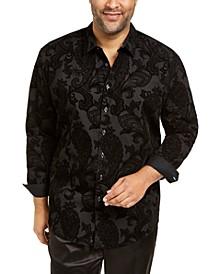 INC Men's Big & Tall Flocked Paisley Shirt, Created for Macy's