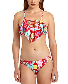Juniors' Tropic Printed Flounce Bikini Top & Hipster Bottoms, Created for Macy's