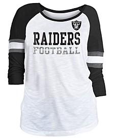 Women's Oakland Raiders Three-Quarter Sleeve Slub Raglan T-Shirt