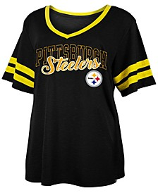 Women's Plus Size Pittsburgh Steelers Sleeve Stripe Slub T-Shirt