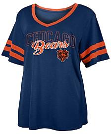 Women's Plus Size Chicago Bears Sleeve Stripe Slub T-Shirt