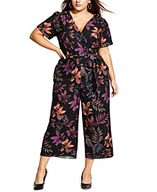 Trendy Plus Size Surplice Cropped Jumpsuit