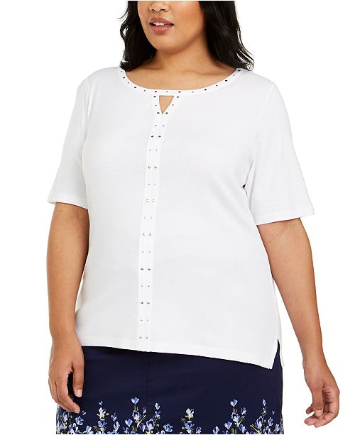 Karen Scott Plus Size Cotton Studded Keyhole Top, Created For Macy's