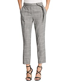 Petite Belted Essex Ankle Plaid Pant