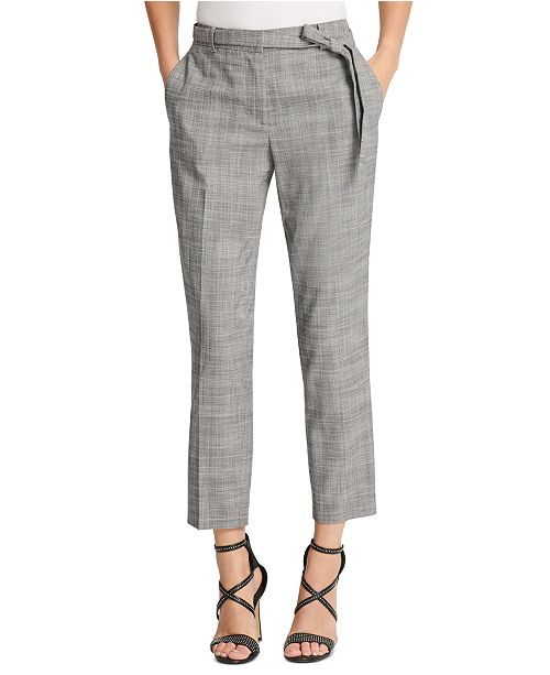 DKNY Petite Belted Essex Ankle Plaid Pant