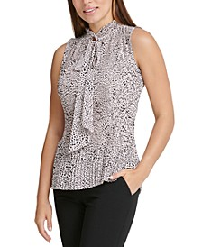 Petite Animal-Printed Pleated Top