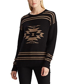 Cotton-Blend Graphic Sweater