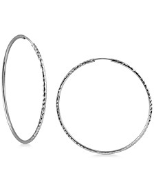 Medium Endless Hoop Earrings in Sterling Silver, 2""