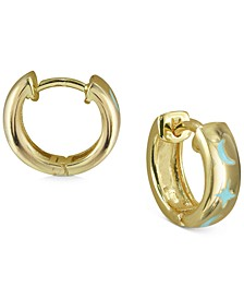 Small Enamel Moon & Stars Huggie Hoop Earrings in 18k Gold-Plated Sterling Silver, 0.5""