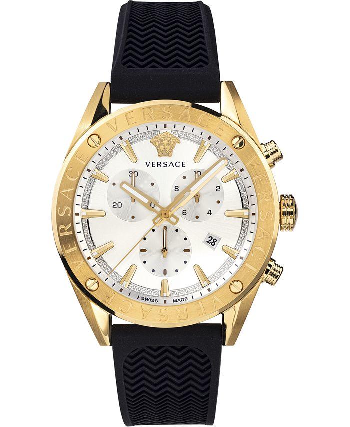 Versace - Men's Swiss V-Chrono Black Silicone Strap Watch 44mm