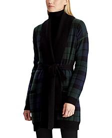 Plaid Shawl-Collar Cardigan