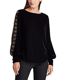 Beaded-Trim Velvet Shirt
