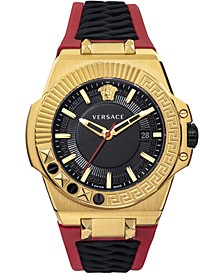 Men's Swiss Chain Reaction Red & Black Silicone Strap Watch 45mm