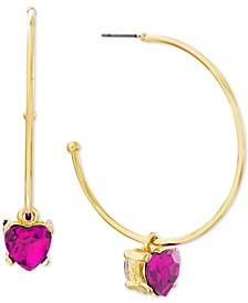 "Medium Gold-Tone Stone Heart Dangle Earrings 1-7/10"""