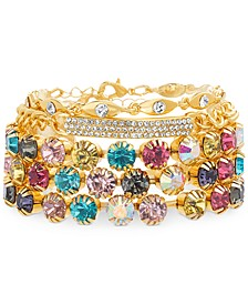 Yellow Gold-Tone Multicolor Crystal & Curved Bar Cuff Bracelet
