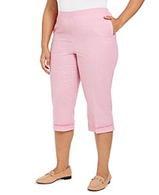 Plus Size Garden Party Crochet-Trim Capri Pants