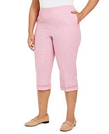 Alfred Dunner Plus Size Garden Party Crochet-Trim Capri Pants