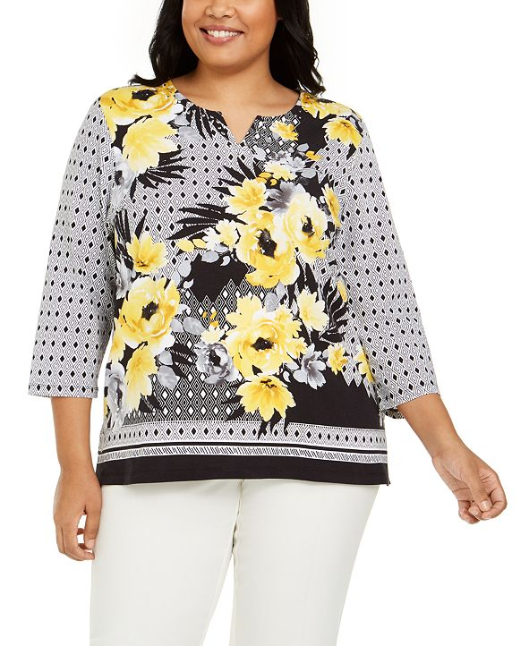 Alfred Dunner Plus Size Riverside Drive Embellished Printed Top