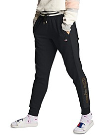 Women's Super Fleece Faux-Fur Metallic-Logo Joggers