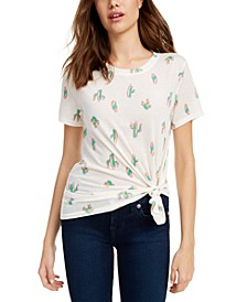 Juniors' Cactus-Print T-Shirt